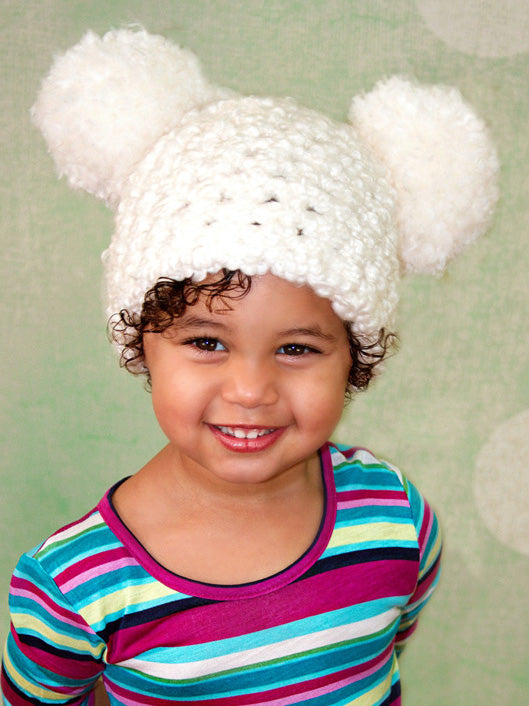 2T to 4T White Pom Pom Hat by Two Seaside Babes