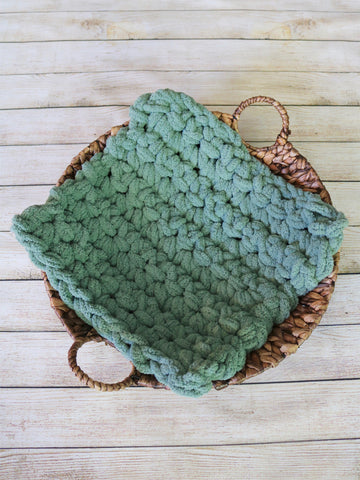 Sage green newborn photo prop chunky bump layer by Two Seaside Babes