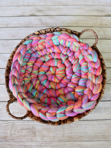 Bright rainbow newborn photo prop chunky round bump blanket by Two Seaside Babes