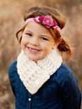 4T to Preteen Kids Cream Button Scarf by Two Seaside Babes