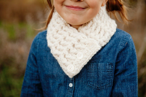 4T to Preteen Kids Cream Button Scarf
