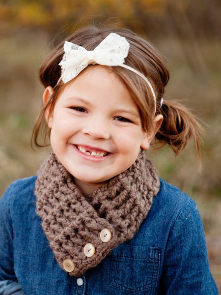 4T to Preteen Kids Taupe Button Scarf by Two Seaside Babes