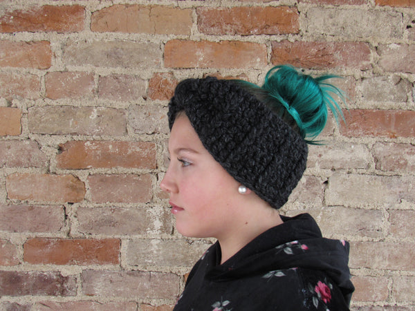 Charcoal gray knotted bow winter headband