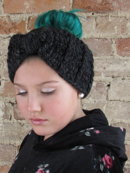 Charcoal gray knotted bow winter headband by Two Seaside Babes