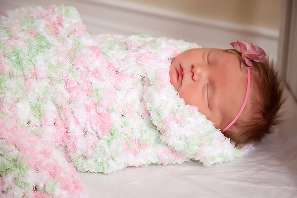 11 colors soft and fluffy crochet baby blanket by Two Seaside Babes - Pink, Mint Green, White