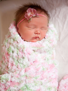 "33"" x 33"" Pink, Mint Green, & White Terry Cloth Baby Blanket by Two Seaside Babes"