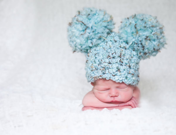 Newborn Sea Blue & Brown Pom Pom Hat