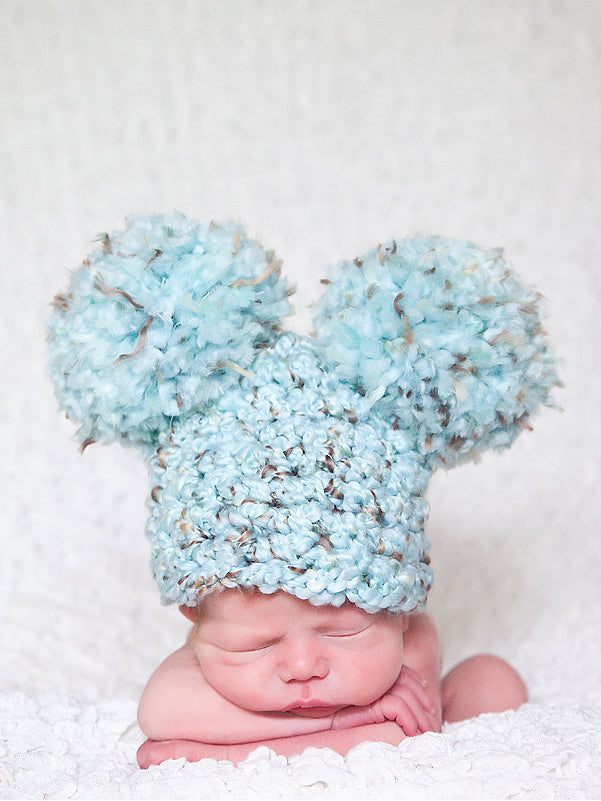 Sea Blue & Brown giant pom pom hat - newborn, baby, toddler, kid, & women's sizes by Two Seaside Babes