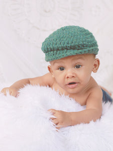 0 to 3 Month Heather Green | Irish wool Donegal newsboy hat, flat cap, golf hat | newborn, baby, toddler, boy, & men's sizes