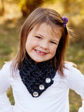 4T to Preteen Kids Charcoal Sparkle Button Scarf by Two Seaside Babes
