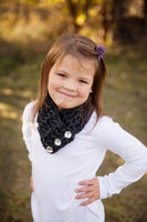 4T to Preteen Kids Charcoal Sparkle Button Scarf