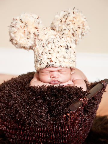 Newborn Month Sand & Brown Pom Pom Hat