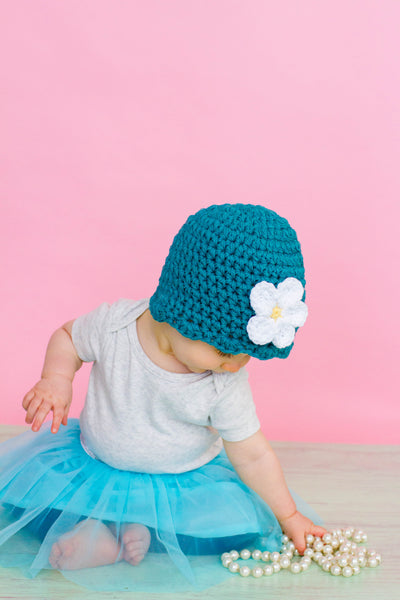 Teal flapper beanie hat | 34 flower colors available