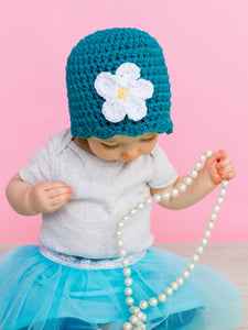 Teal flapper beanie hat | 34 flower colors available by Two Seaside Babes