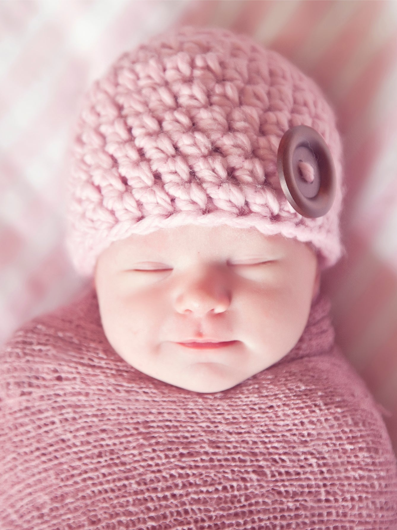 Pink blossom button beanie baby hat by Two Seaside Babes