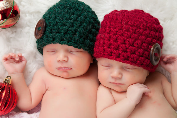 Cranberry red & evergreen pine button beanie baby hat
