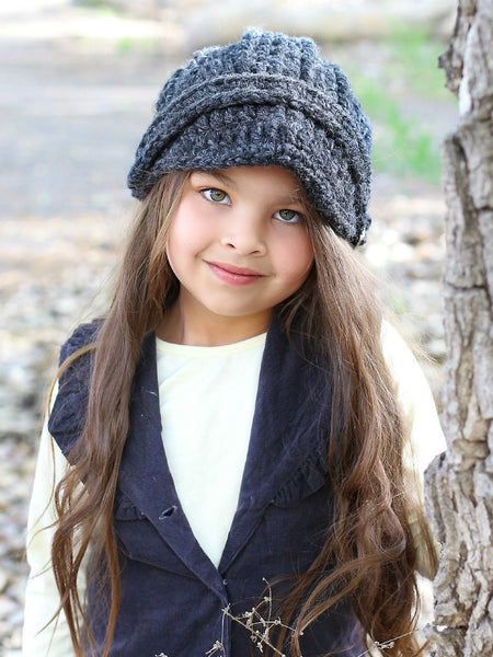 4T to Preteen Kids Charcoal Gray Buckle Beanie by Two Seaside Babes