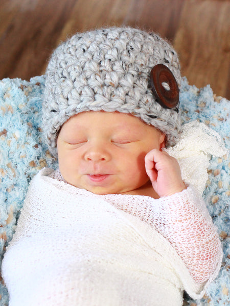 Gray marble button beanie baby hat by Two Seaside Babes