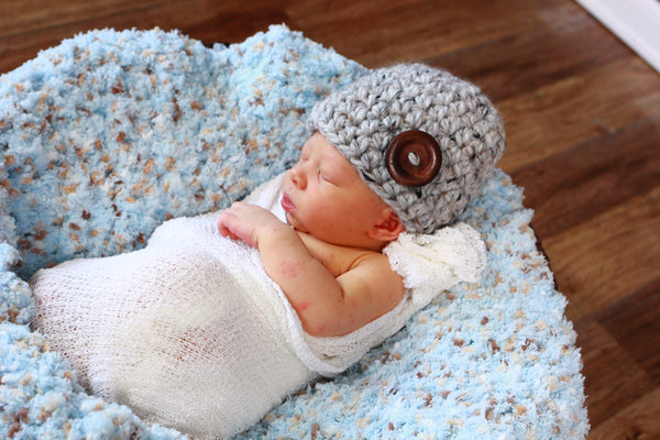 Gray marble button beanie baby hat
