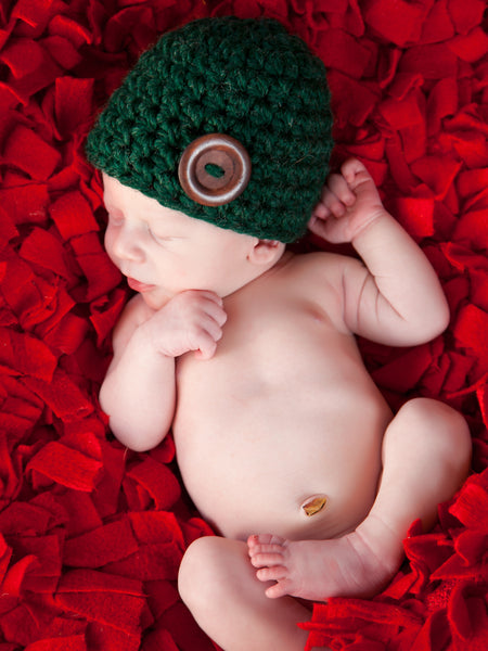 Evergreen pine button beanie baby hat by Two Seaside Babes