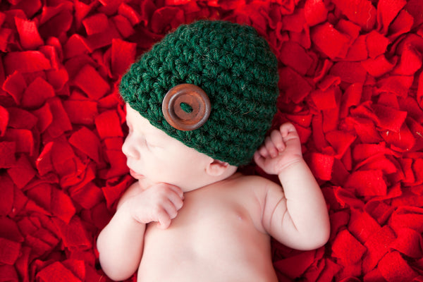 Evergreen pine button beanie baby hat