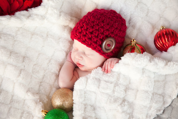 Cranberry red button beanie baby hat