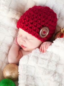 Cranberry red button beanie baby hat by Two Seaside Babes