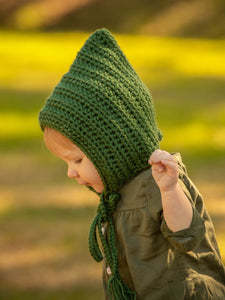 Sage green pixie elf hat by Two Seaside Babes