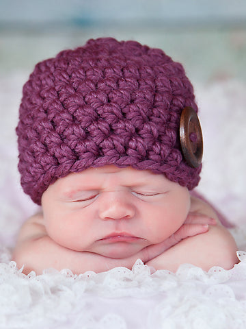 Purple plum button beanie baby hat by Two Seaside Babes