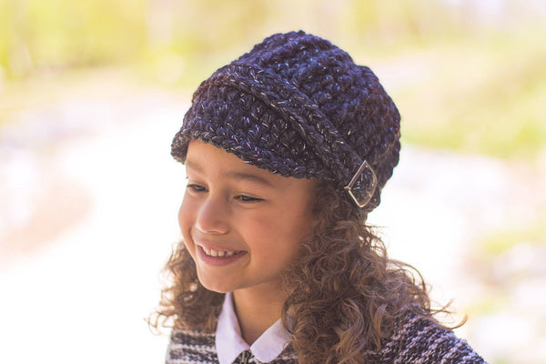 4T to Preteen Kids Charcoal Sparkle Buckle Beanie
