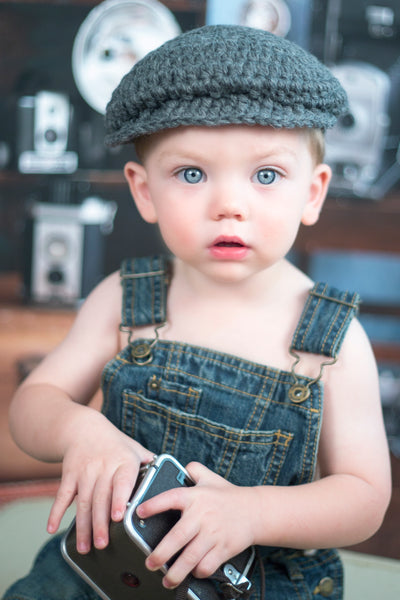 2T to 4T Charcoal Gray | Irish wool Donegal newsboy hat, flat cap, golf hat | newborn, baby, toddler, boy, & men's sizes