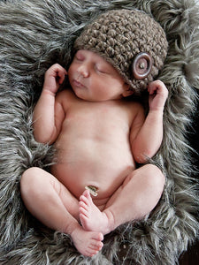 Barn wood brown button beanie baby hat by Two Seaside Babes