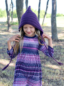 Dark purple pixie elf hat by Two Seaside Babes