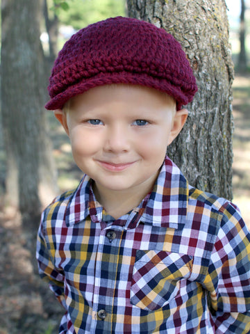 Dark red wine Irish wool newsboy hat by Two Seaside Babes