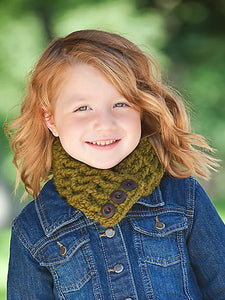 1T to 4T Toddler Olive Green Button Scarf by Two Seaside Babes