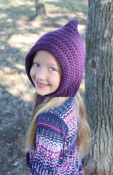 Dark purple pixie elf hat