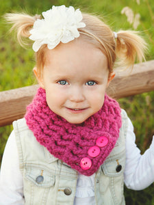 1T to 4T Toddler Raspberry Pink Button Scarf by Two Seaside Babes