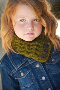 1T to 4T Toddler Olive Green Button Scarf