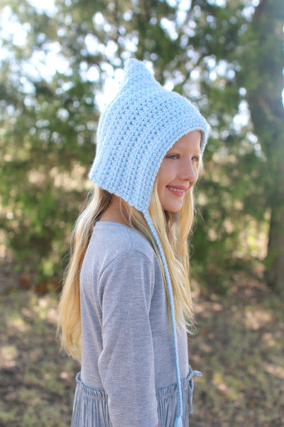 Baby blue pixie elf hat