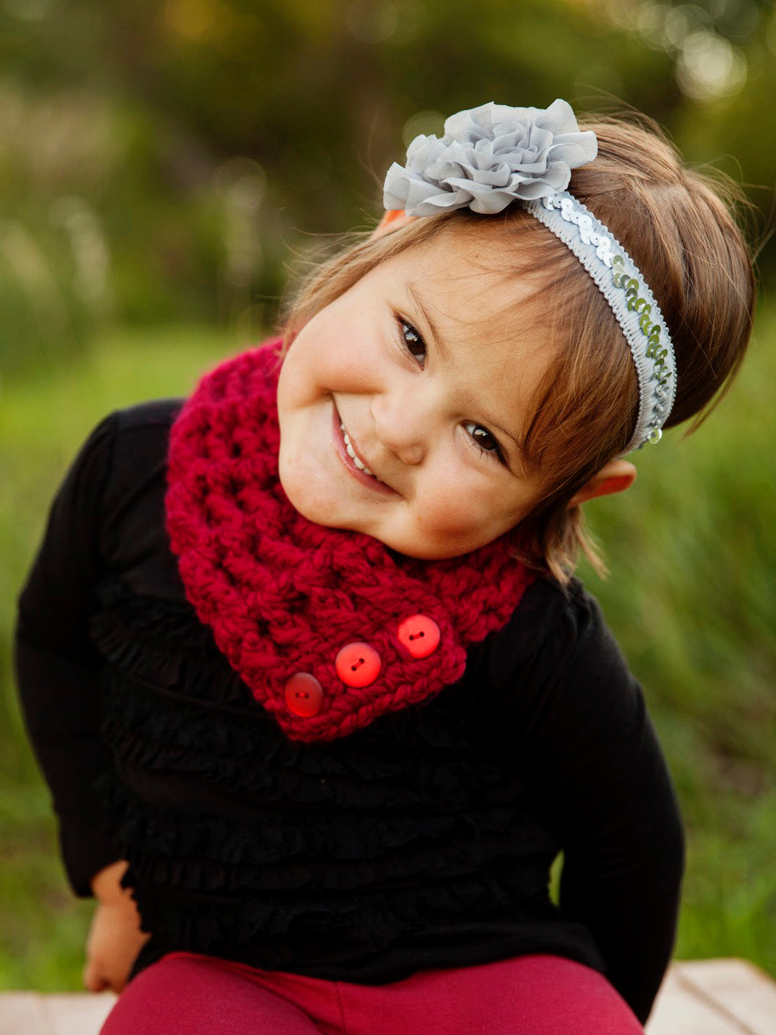 1T to 4T Toddler Cranberry Red Button Scarf by Two Seaside Babes