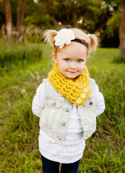 Yellow citron button scarf