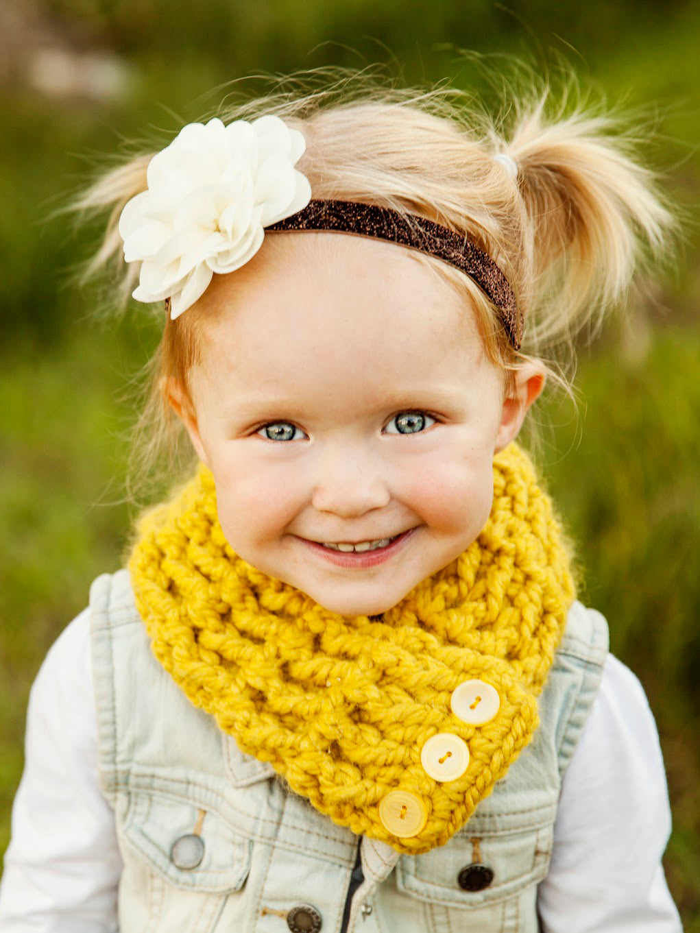 Yellow citron button scarf by Two Seaside Babes