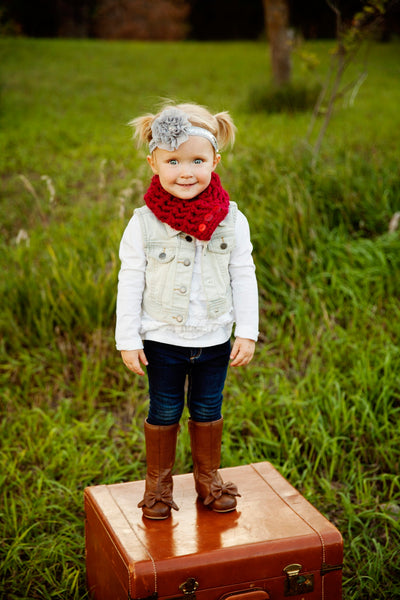 1T to 4T Toddler Cranberry Red Button Scarf