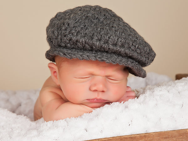 Newborn Charcoal Gray | Irish wool Donegal newsboy hat, flat cap, golf hat | baby, toddler, boy, & men's sizes