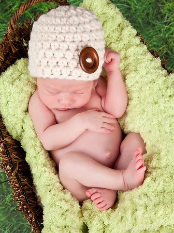Cream button beanie baby hat by Two Seaside Babes