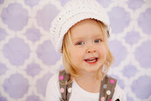 White Sparkle Buckle Newsboy Cap