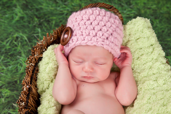 Pink blossom button beanie baby hat