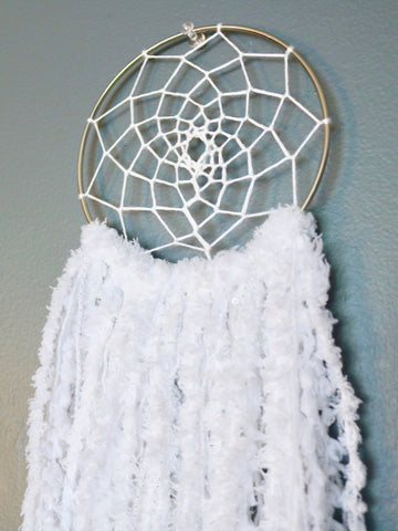 "17.5"" White Yarn Dream Catcher by Two Seaside Babes"