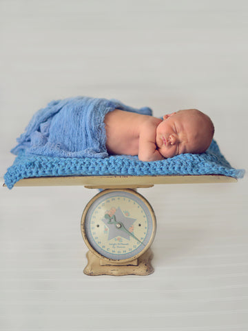 Cornflower Blue | newborn photo prop layering baby blanket, basket stuffer, bucket filler by Two Seaside Babes