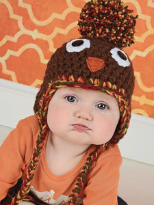 6 to 9 Month Turkey pom pom Thanksgiving Day hat | newborn, baby, toddler, child, & adult sizes by Two Seaside Babes